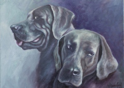 """Ash & Jigs"", two dogs, original oil painting by Wendy Beresford"