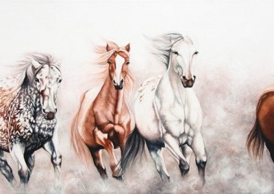 """At Liberty"", four horses galloping, original oil and acrylic painting by Wendy Beresford"