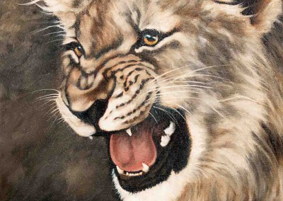 Lion cub snarling, original oil painting by Wendy Beresford
