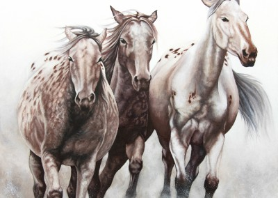 """Mums-in-waiting"", three pregnant appaloosa mares, original oil painting by Wendy Beresford"