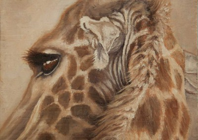 Giraffe profile, original oil painting miniature on wood by Wendy Beresford