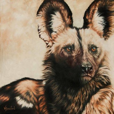 """Pack Leader"", oil painting of African wild dog portrait by Wendy Beresford"