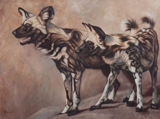 """Scouts"", oil painting of two African wild dogs by Wendy Beresford"