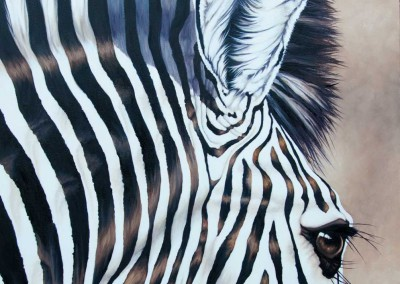 """Sentient Being"", zebra closeup, original oil painting by Wendy Beresford"