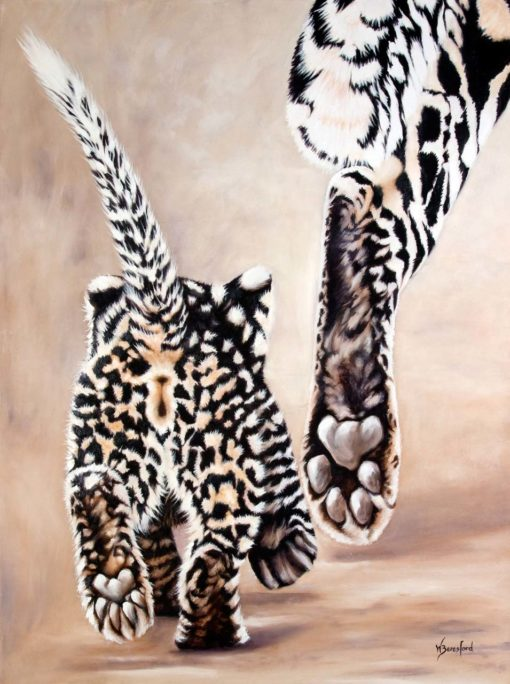 """Strutting Her Stuff"", original oil painting by Wendy Beresford, leopard cub following mother"