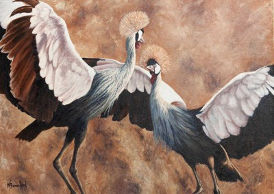 """The Dance"", crowned cranes, original oil painting by Wendy Beresford"