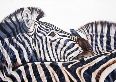 """The Herd"", zebras, original oil painting by Wendy Beresford"