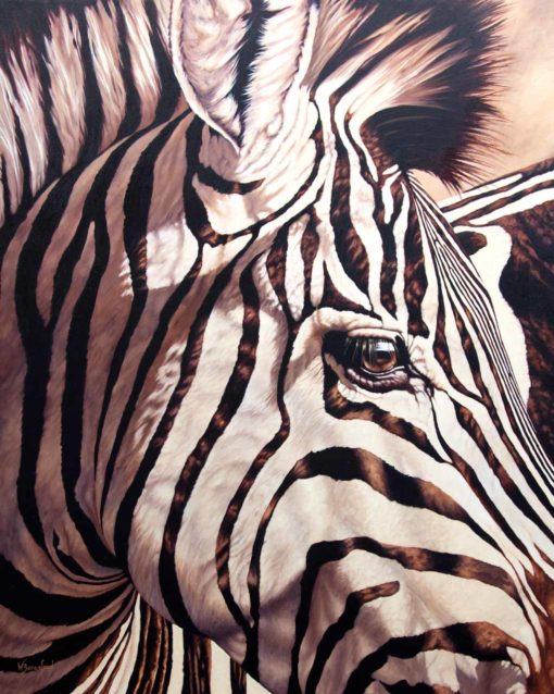 """""""Their Perspective"""" by Wendy Beresford, oil painting zebra portrait"""