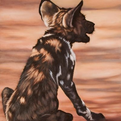 """Vigil for Mum"", wild dog puppy, original oil painting by Wendy Beresford"