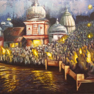 Oil painting by Wendy Beresford of the river Ganges in India