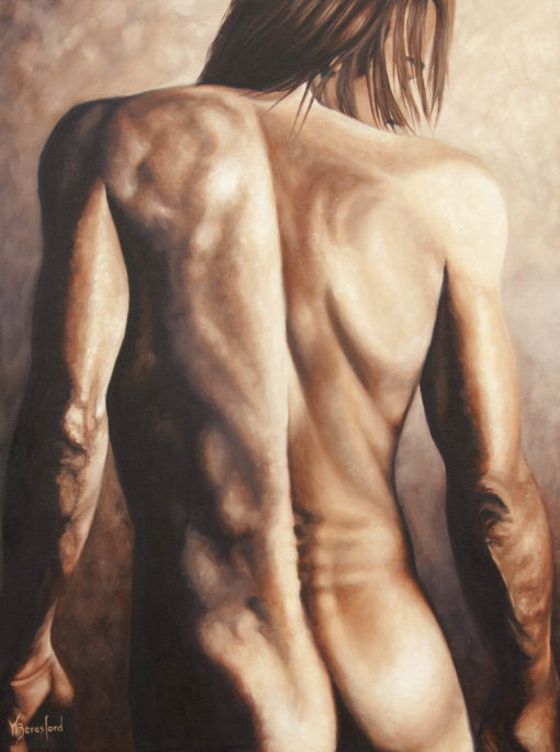 Male nude study in oils by Wendy Beresford