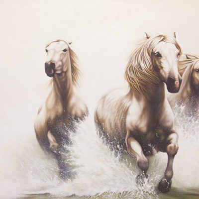 """Power of Equus"", three horses galloping through water, original oil painting by Wendy Beresford"