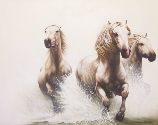 """""""Power of Equus"""", three horses galloping through water, original oil painting by Wendy Beresford"""