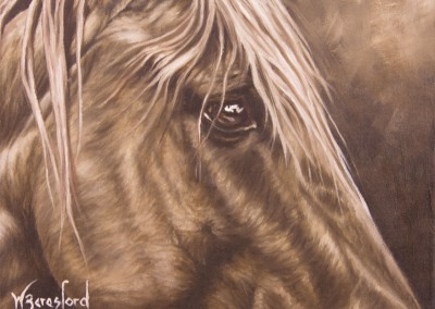 """Golden"", portrait of a chestnut horse in monochrome, original oil painting by Wendy Beresford"