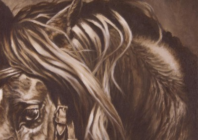 """Friesian Focus"", close up of a friesian horse, original oil painting by Wendy Beresford"