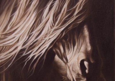 """Dark Horse"", closeup portrait of a friesian horse, original oil painting by Wendy Beresford"