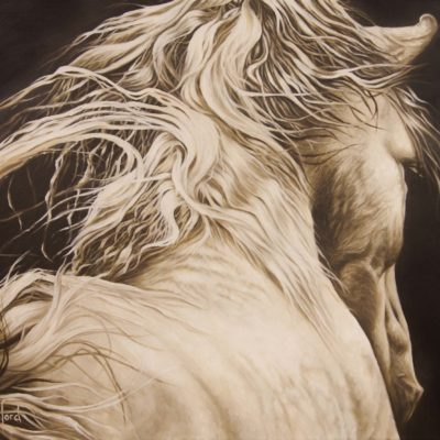 """Epona"", oil painting of white horse by Wendy Beresford"