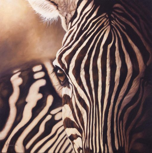 """Through the Looking Glass"", oil painting of zebra close up by Wendy Beresford"