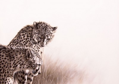 """Vanabhudhi"", Monochrome painting of two cheetahs, oil on canvas, by Wendy Beresford"