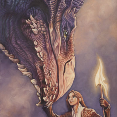 Oil painting of dragon and elf by Wendy Beresford