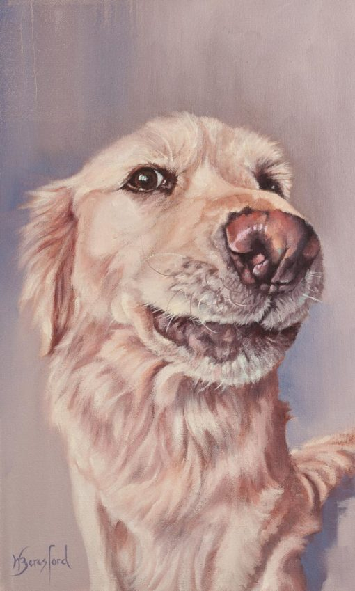 """""""Angel"""", golden retriever portrait, oil painting by Wendy Beresford"""