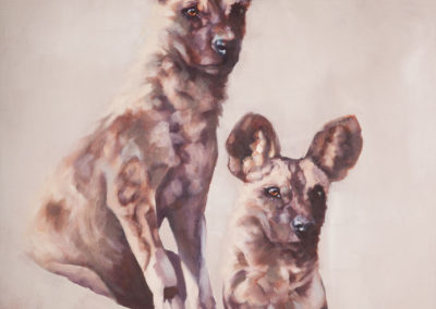 """Wild Dogs"", African Wild Dog pair, oil painting by Wendy Beresford"