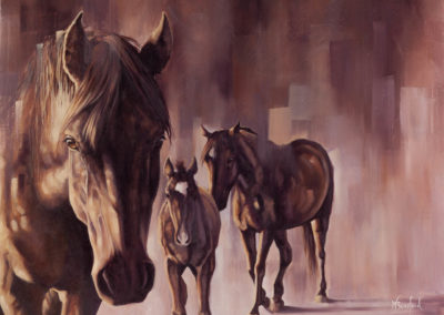 """After the Rain"", oil painting of three horses by Wendy Beresford"