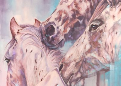 """Appaloosas"", oil painting of three appaloosa horses by Wendy Beresford"