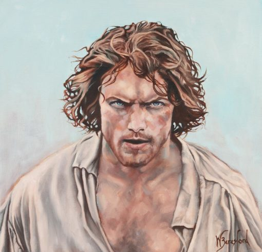 Portrait of Jamie Fraser from Outlander, the Battle of Culloden, oil painting by Wendy Beresford, 380mm x 380mm