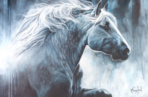 """Majestic"", oil painting by Wendy Beresford, 760mm x 1150mm, monochrome horse profile"