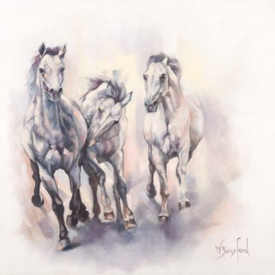 """And the Greys have it"", oil painting on canvas, three grey horses galloping, by Wendy Beresford"
