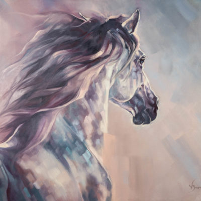 """Fire and Ice"", oil painting on canvas of grey Andalusian horse by Wendy Beresford"
