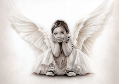 """""""Soul Child"""", oil painting in monochrome of a little girl angel by Wendy Beresford"""