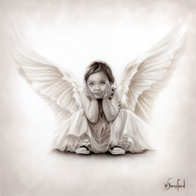 """Soul Child"", oil painting in monochrome of a little girl angel by Wendy Beresford"