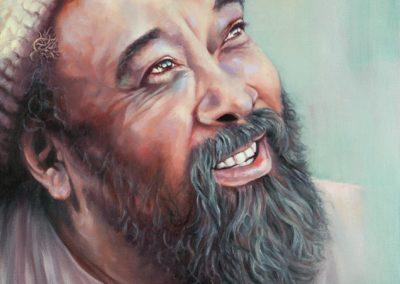 A portrait of Mooji, oils on canvas, by Wendy Beresford