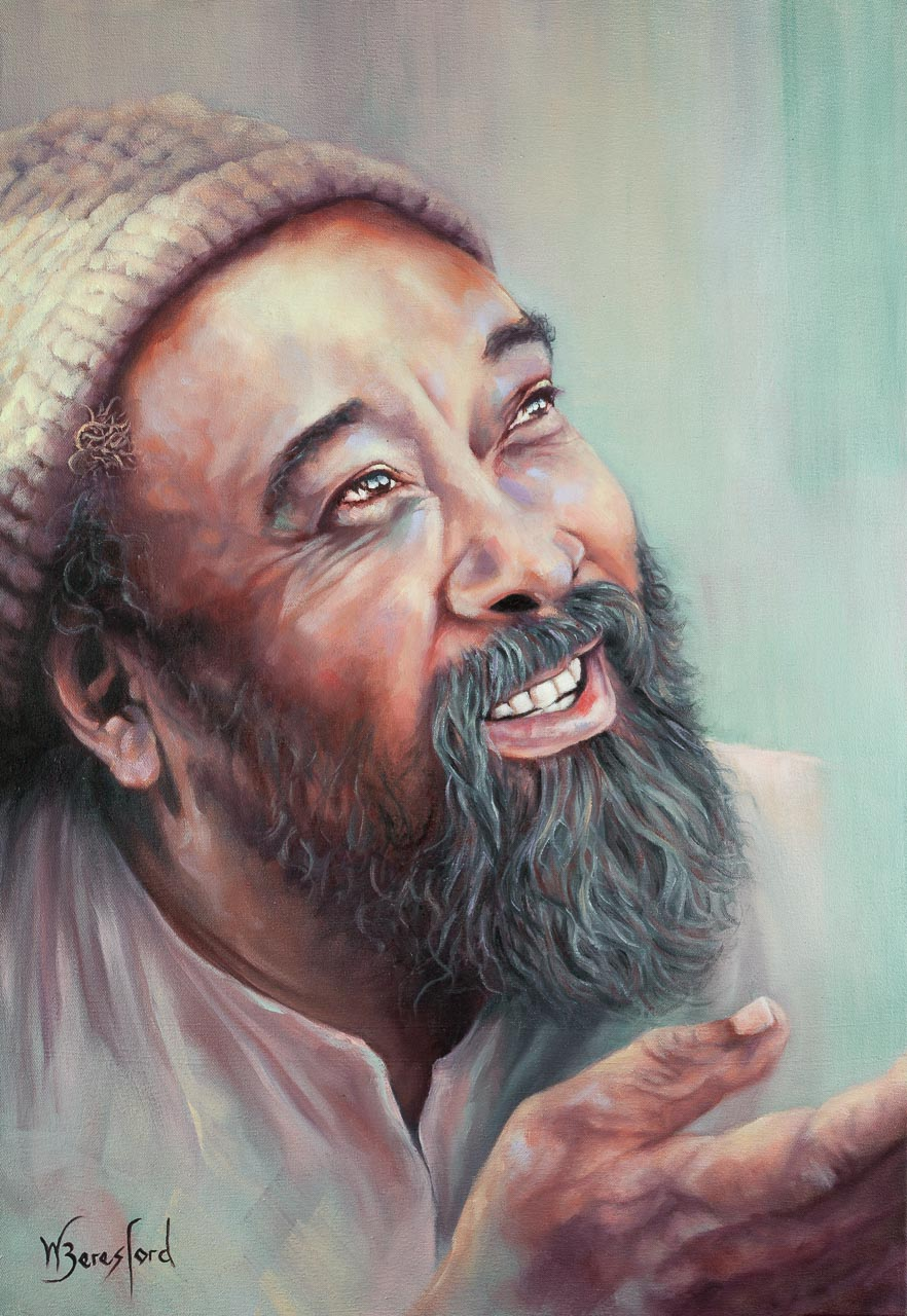 A portrait of Mooji, oils on canvas, by Wendy Beresford