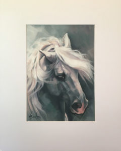 """Product shot of """"Study in Grey"""", original oil on canvas by Wendy Beresford, mounted in white matt board, image size 325mm x 232mm (12.8""""x9""""), mountboard size 508mm x 405mm (20""""x16"""")"""