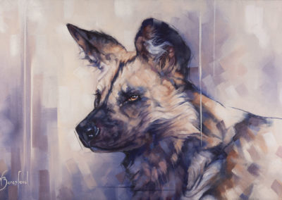 """Painted Dog"", a portrait of African Wild Dog, oil on canvas, by Wendy Beresford"