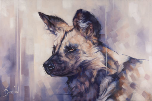 """""""Painted Dog"""", a portrait of African Wild Dog, oil on canvas, by Wendy Beresford"""