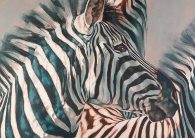 """Storm Watchers"", oil painting on stretched canvas, portrait of zebras, by Wendy Beresford"
