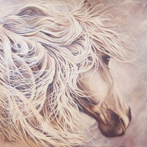 """Hero"", oil on canvas, portrait of grey horse, by Wendy Beresford"