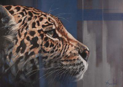 """Night Denizen"", oil on canvas, portrait of a leopard by Wendy Beresford"