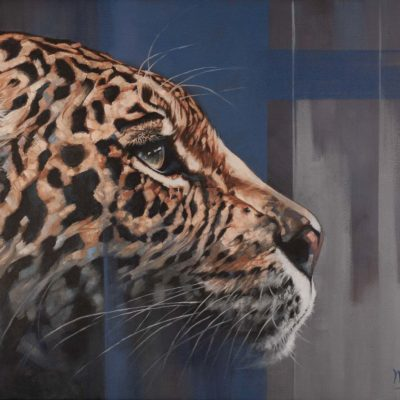 """Night Denizen"", oil on canvas, portrait of a leopard by Wendy Beresford"