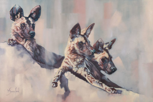 """Still Point"", oil on canvas, original painting of three African Wild Dogs by Wendy Beresford"