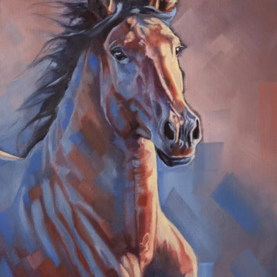 """Blue Bay"", oil painting of a sunlit bay horse on canvas sheet, mounted, by Wendy Beresford"