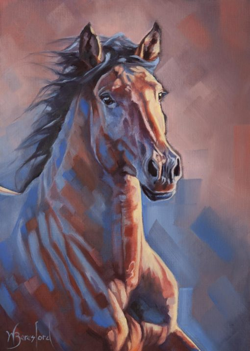 """""""Blue Bay"""", oil painting of a sunlit bay horse on canvas sheet, mounted, by Wendy Beresford"""