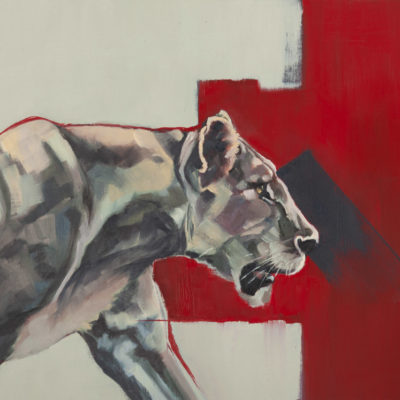 """Staying Alive"", original oil painting on canvas sheet, mounted in white, of a lioness, by Wendy Beresford"