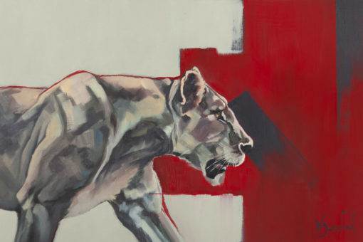"""""""Staying Alive"""", original oil painting on canvas sheet, mounted in white, of a lioness, by Wendy Beresford"""