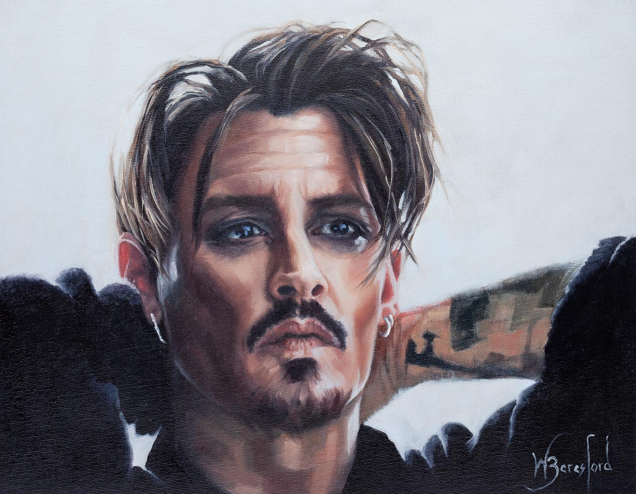 Portrait of Johnny Depp, oil on canvas, by Wendy Beresford