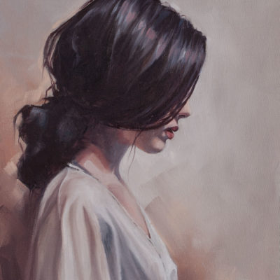 """Girl in White"", oil on canvas, by Wendy Beresford"